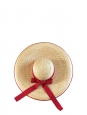 Chapeau capeline en paille et ruban grosgrain rouge