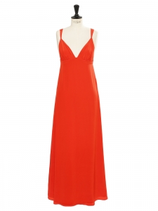 DOROTHEE SCHUMACHER Bright red silk maxi dress with heart shape décolleté and large straps Retail price €750 Size S