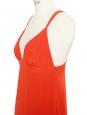 DOROTHEE SCHUMACHER Robe longue en soie rouge vif décolleté coeur et dos nu à bretelles Prix boutique 750€ Taille 36