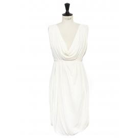 Robe style grecque drapée et décolletée en soie et rayon blanc ivoire Prix boutique 1900€ Taille 38 à 42