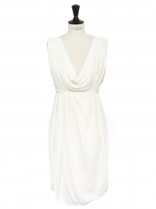 FENDI Grecian style ivory white silk and rayon draped and décolleté dress Retail price €1900 Size 38 to 42