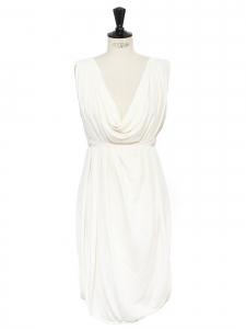 FENDI Robe style grecque drapée et décolletée en soie et rayon blanc ivoire Prix boutique 1900€ Taille 38 à 42