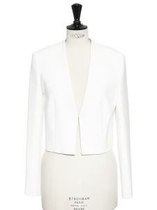 BOSS HUGO BOSS Ivory white jersey cropped blazer jacket NEW Retail price €300 Size 36