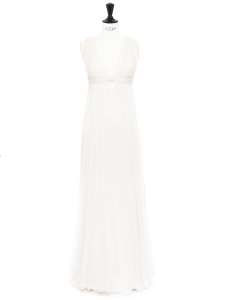 White silk chiffon long bridal dress Retail price €3000 Size XS