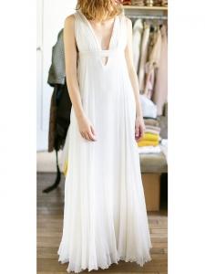 Robe longue de mariée en mousseline de soie blanche Prix boutique 3000€ Taille XS