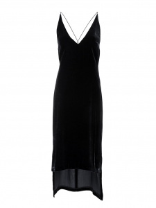 DION LEE Black silk velvet cami dress with low open back and plunging neckline Retail price $690 Size 36