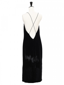 DION LEE Robe de cocktail en velours noir décolleté plongeant et dos nu Prix boutique $690 Taille 36