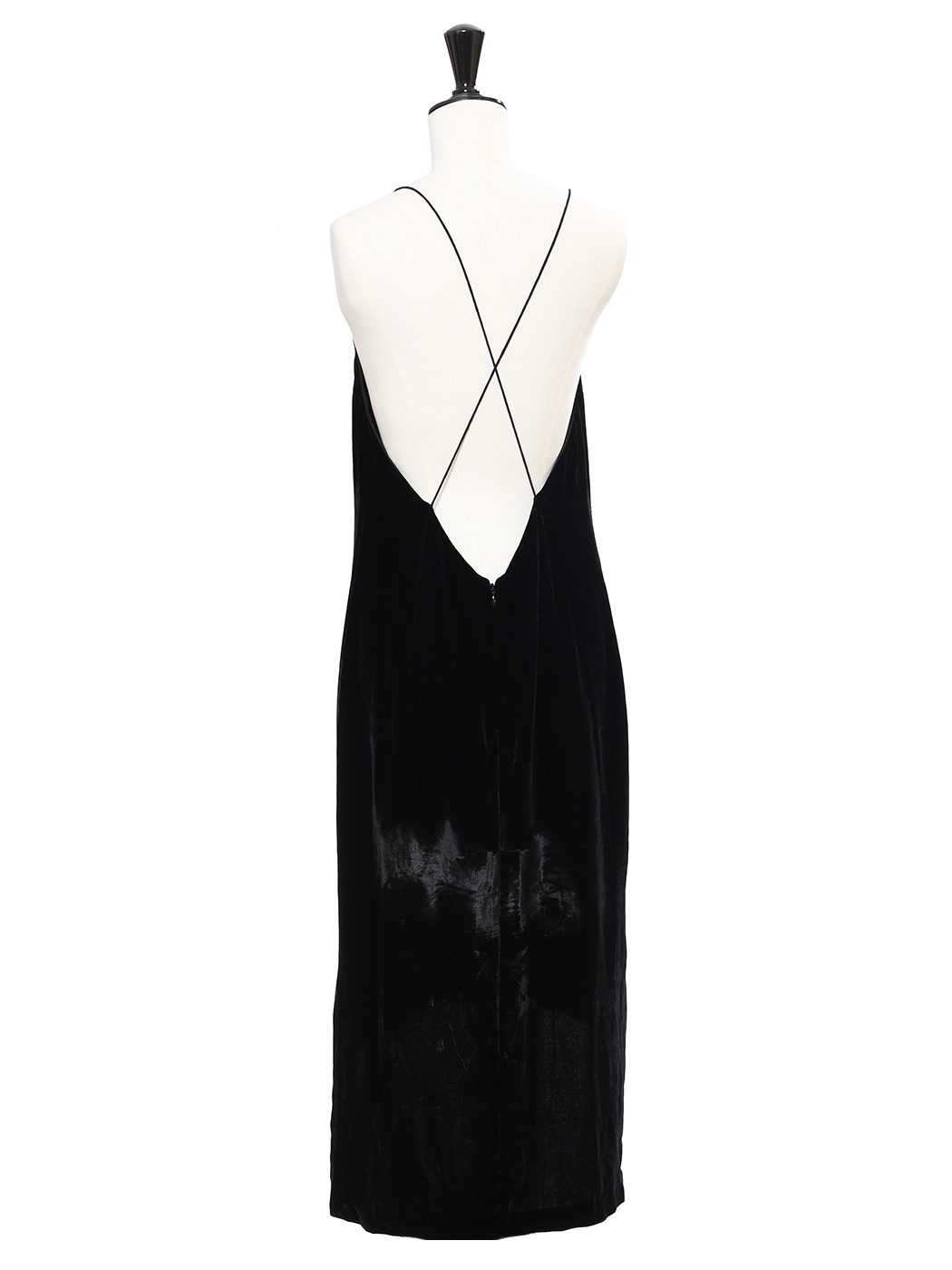 Louise Paris Dion Lee Black Silk Velvet Cami Dress With