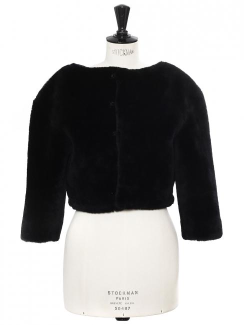 Black fur cropped jacket Retail price €4000 Size 38