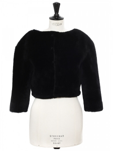 CHLOE Black fur cropped jacket Retail price €4000 Size 38