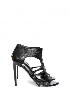 Black leather cutout sandals Retail price €850 Size 39.5