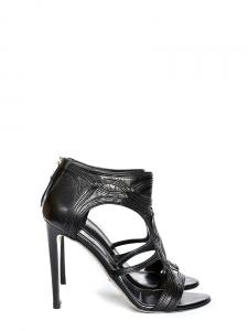 Sandales à talon en cuir découpé noir Px boutique 850€ Taille 39,5