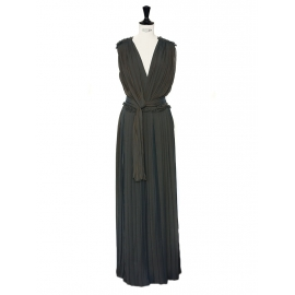 Green grey silk-blend draped pleated column dress NEW Retail price €3265 Size 34