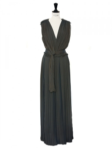 Green grey silk-blend draped pleated column dress Retail price €3265 Size 34