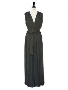 Green grey silk-blend draped pleated column dress Retail price €3265 Size 34