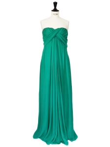 Emerald green silk evening gown/dress Retail price 1600€ Size 36/38