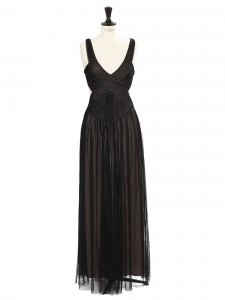 BCBG MAX AZRIA MARA V-neck and cut-away back black tulle evening gown Retail price €358 Size 36
