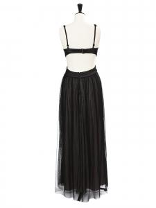 BCBG MAX AZRIA Robe de soirée MARA longue dos nu en tulle noir Prix boutique 358€ Taille 36