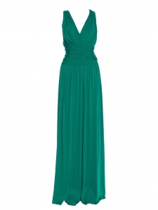 HALSTON HERITAGE Emerald green open back cross straps maxi dress Retail price €350 Size S