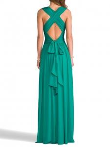 HALSTON HERITAGE Robe de soirée longue bretelles croisées dos nu vert émeraude Prix boutique 350€ Taille S