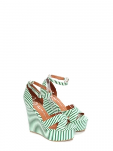 Sandales compensées plateforme et bride cheville rayées vert et blanc Prix boutique 150€ Taille 37