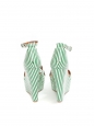 Green and white striped leather platform sandals with ankle strap Retail price €150 Size 37