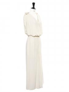 SEE BY CHLOE Robe drapée longue style grecque décolleté V blanc crème Prix boutique 350€ Taille 38