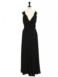 POLO RALPH LAUREN Black silk maxi cocktail dress with deep décolleté, ruffles and open back Retail price $450 Size S