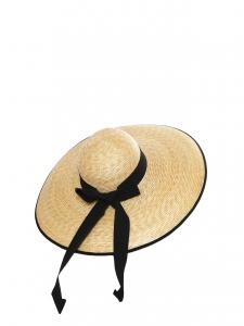 CAPPELLERIA BERTACCHI Grand chapeau capeline en paille et ruban grosgrain noir