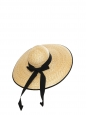 Black grosgrain ribbon and naturel beige straw capeline large sun hat
