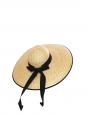 Grand chapeau capeline en paille et ruban grosgrain noir