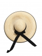 CAPPELLERIA BERTACCHI Black grosgrain ribbon and naturel beige straw capeline large sun hat