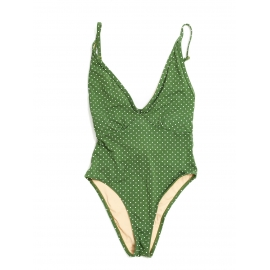 St Jean one piece green and white polka dot printed swimsuit Retail price $170 Size XS