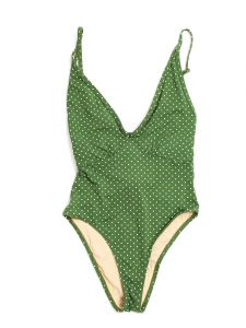 PEONY St Jean one piece green and white polka dot printed swimsuit Retail price $170 Size XS