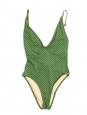 Maillot de bain St Jean une pièce décolleté plongeant vert à pois blanc NEUF Prix boutique $170 Taille XS
