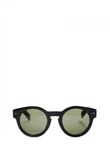 Black round shape sunglasses with dark green lens