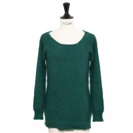 Emerald green angora round neck sweater Retail price €350 Size 36