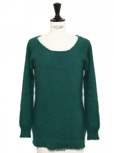 Emerald green angora round neck sweater Retail price €350 Size 36
