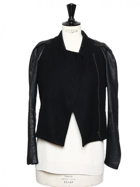 1b34eaa70e9 Veste blouson en laine noire et manches en cuir Prix boutique 400€ Taille 36