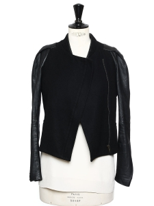 Veste blouson en laine noire et manches en cuir Prix boutique 400€ Taille 36