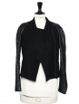 Black wool jacket with leather sleeves Retail price €400 Size 36