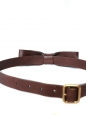 Cognac brown leather belt with bow and gold buckle Retail price €550