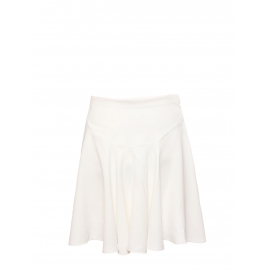 Ivory white crepe high waist flared skirt Retail price €560 Size 38