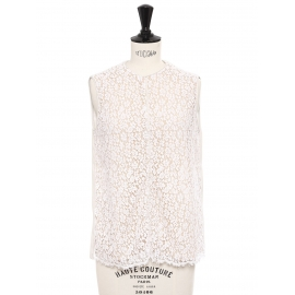 Ecru white floral lace sleeveless top Retail price €800 Size 36