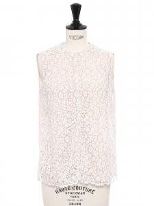 Top blanc ecru sans manche en dentelle fleurie et soie Prix boutique 600€ Taille 38
