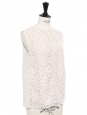 Ecru white floral lace sleeveless top Retail price €600 Size 36
