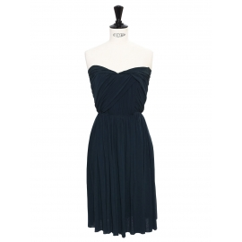 Midnight blue draped cinched and heart shaped neckline strapless dress Retail price €2000 Size 34