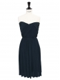 LANVIN Midnight blue draped cinched and heart shaped neckline strapless dress Retail price €2000 Size 34