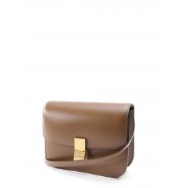 Classic medium size camel brown Box leather shoulder bag Retail price €3100