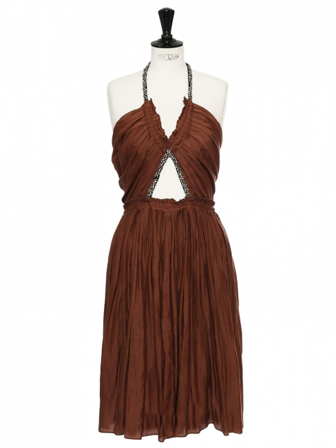 Chocolate cotton and silk dress embroidered with Swarovski crystals Retail price €5000 Size 38